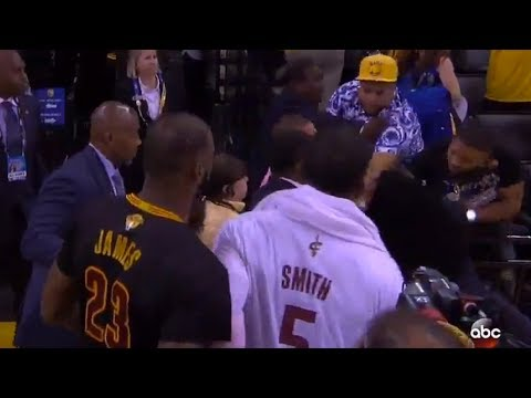 Thumbnail: LeBron James Runs into FIGHT Between Cavs & Warriors Fans While Walking Off Court