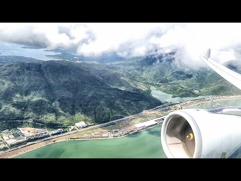 Airbus A330 Full Engine View. Cathay Pacific Full Flight CX713 Hong Kong - Bangkok