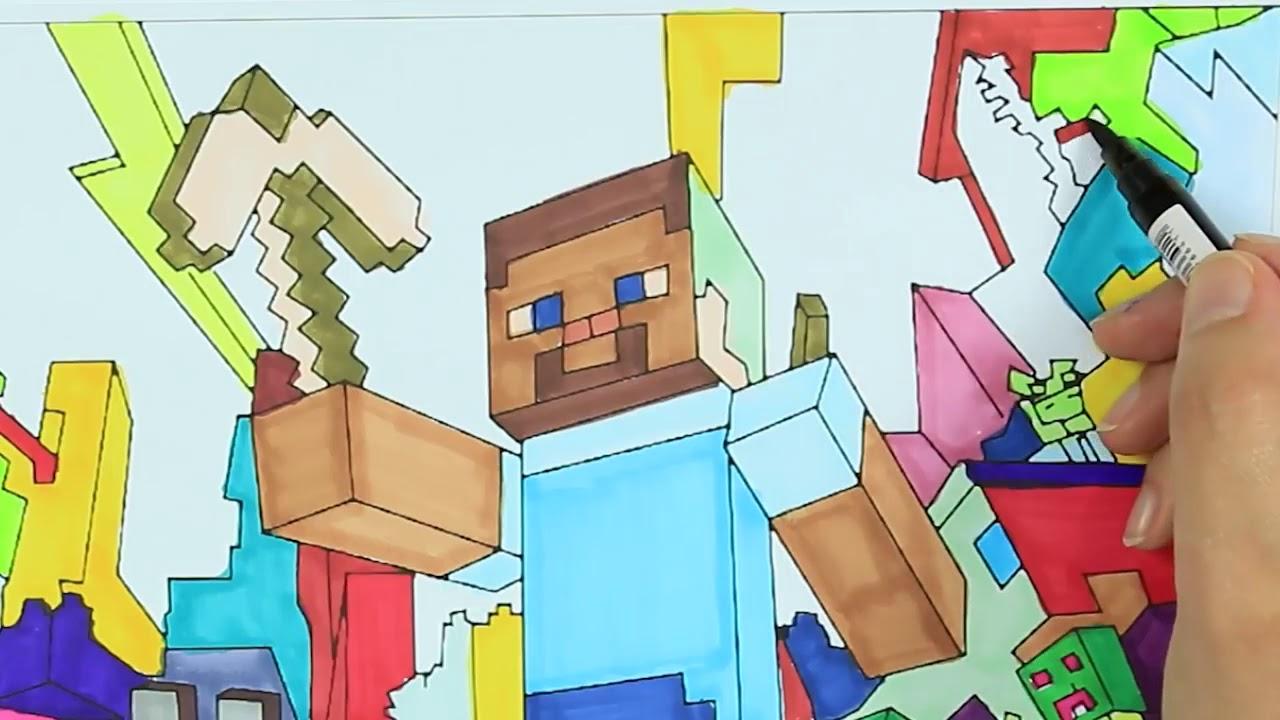 Minecraft Para Colorear Steve: Minecraft Steve Y Perro 🎮🏘