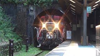 《鉄道むすめ》特別ヘッドマーク〔嵯峨野トロッコ列車〕、[トロッコ嵐山駅]下り到着シーン