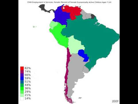 South America - Child Employment In Services, Female - Time Lapse
