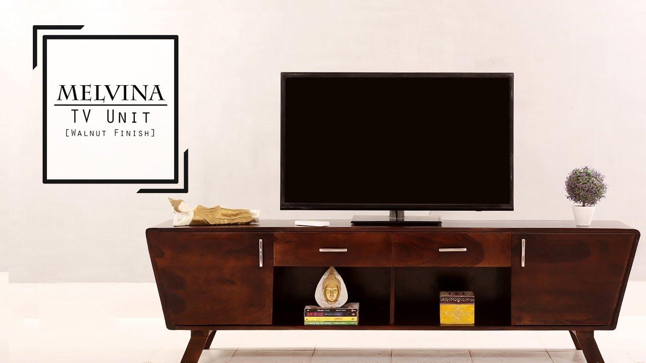 Wooden TV Units : Buy Melvina TV Unit Online In Walnut Finish At Wooden  Street