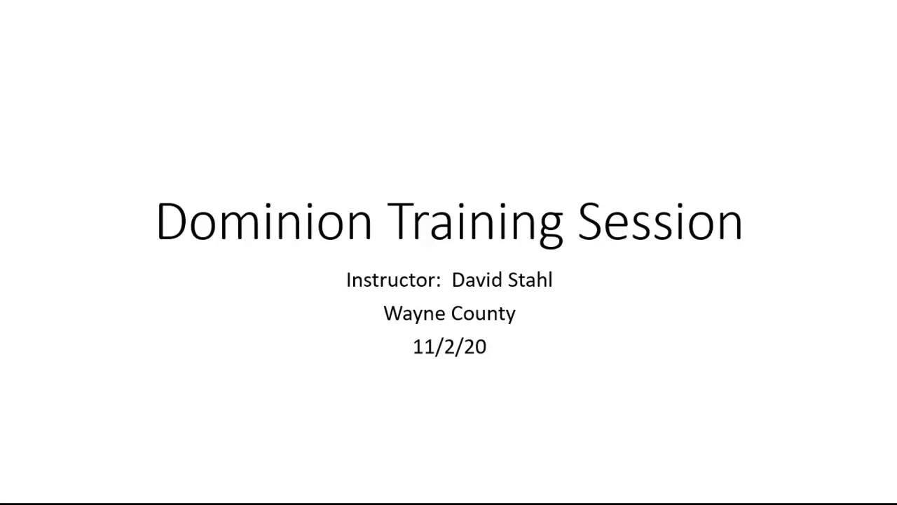 Dominion Voting Systems Contractor Training
