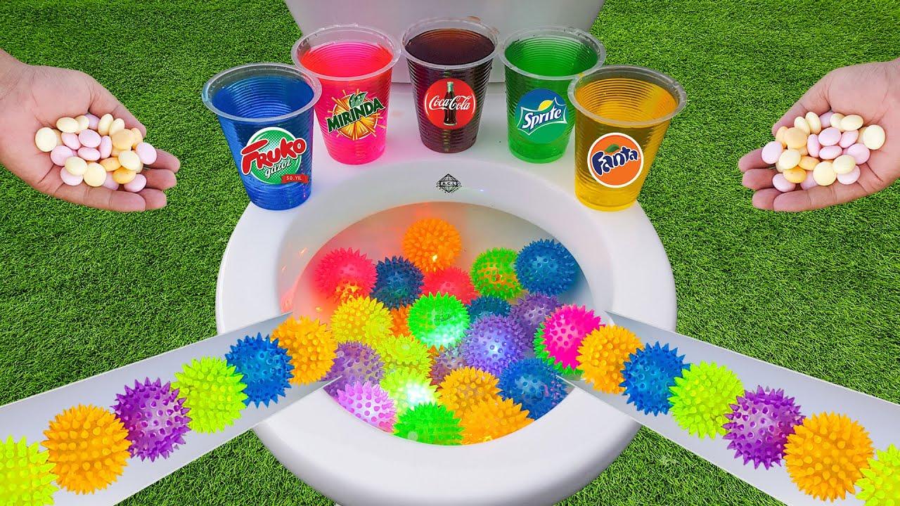 Colorful Light Balls Run Race ASMR vs Coca Cola, Sprite, Fruko Mirinda and Mentos in Toilet