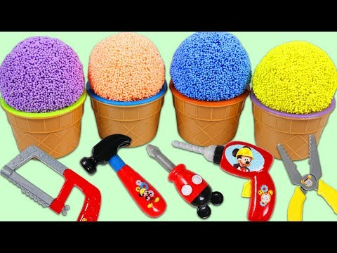 PLAY FOAM Surprise Toys Opening Disney Mickey Mouse Tools MashEms FashEms & Kinder Eggs!