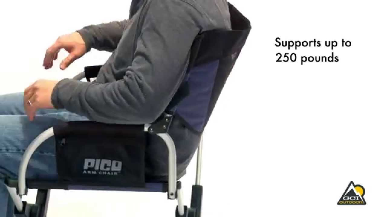 pico arm chair costco mesh office telescoping director s by gci outdoor youtube