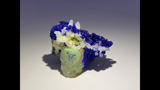 Azurite on Fluorite and Quartz Mineral Specimen, Mineral Rocks and Crystals from China