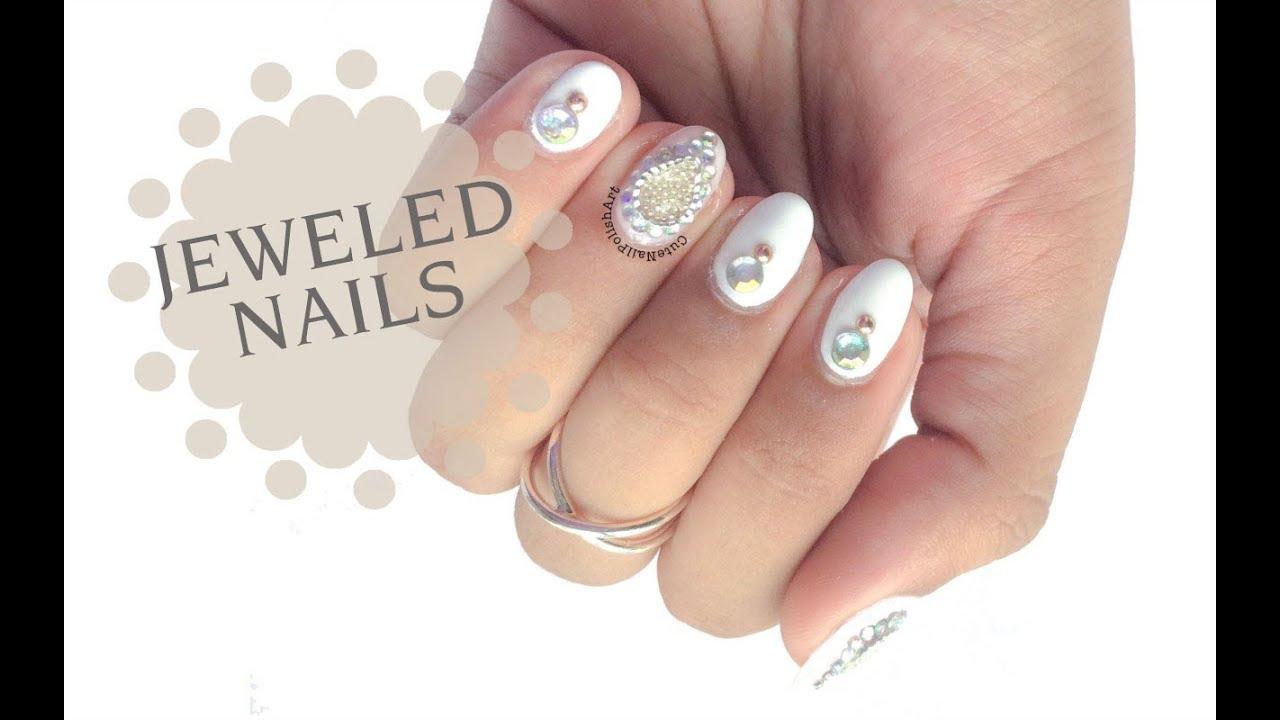 Jeweled Nails | CuteNailPolishArt - YouTube