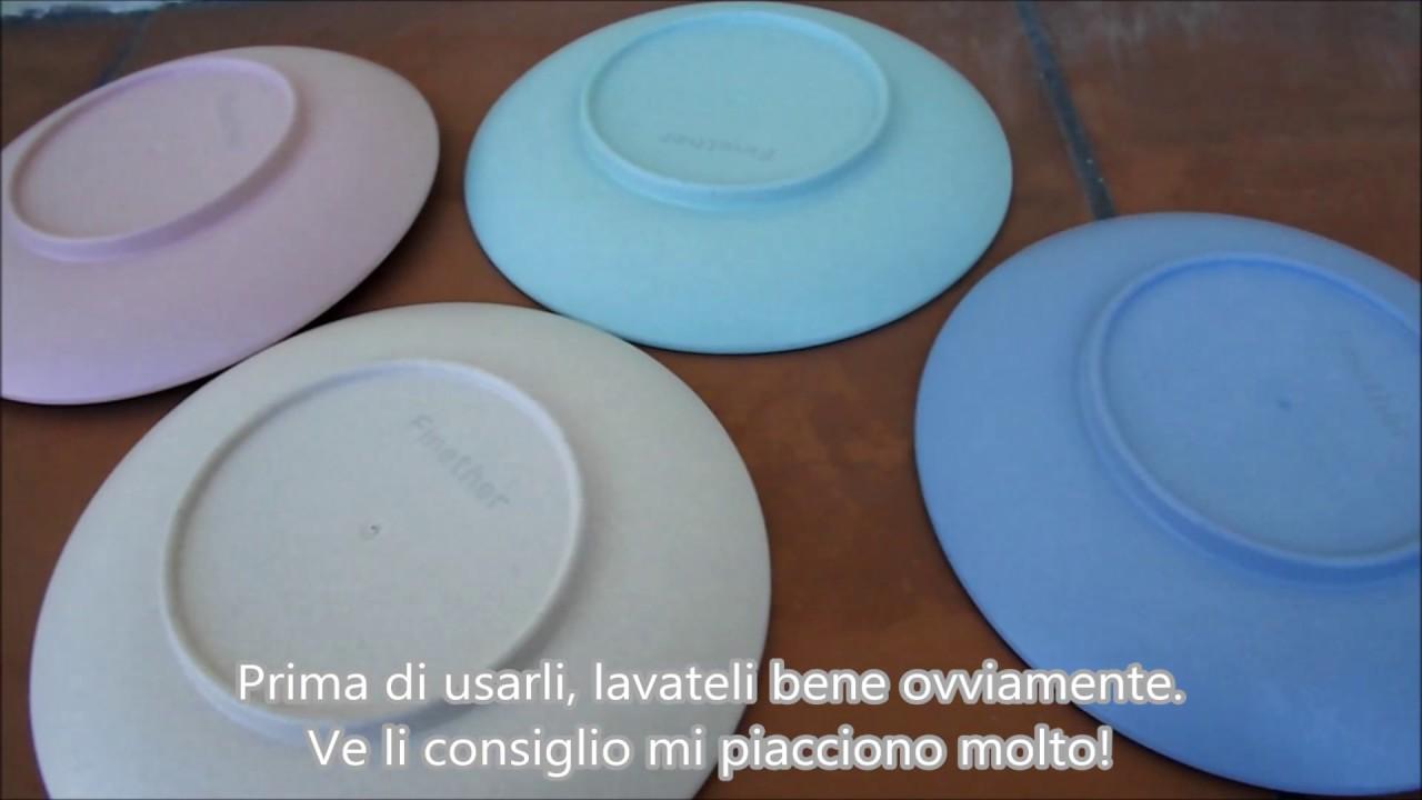 Quattro 4 piatti piattini per bambini da tavola colori pastello in ...