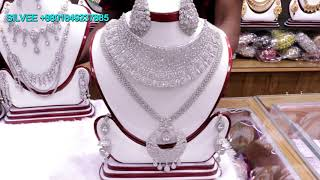 Latest Silver Colour Diamond cutting jewelery Designsjeweller