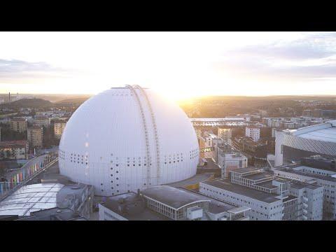 2563. Globen (Stockholm Globe Arena) Drone Stock Footage Video