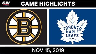 NHL Highlights | Bruins vs. Maple Leafs - Nov. 15, 2019
