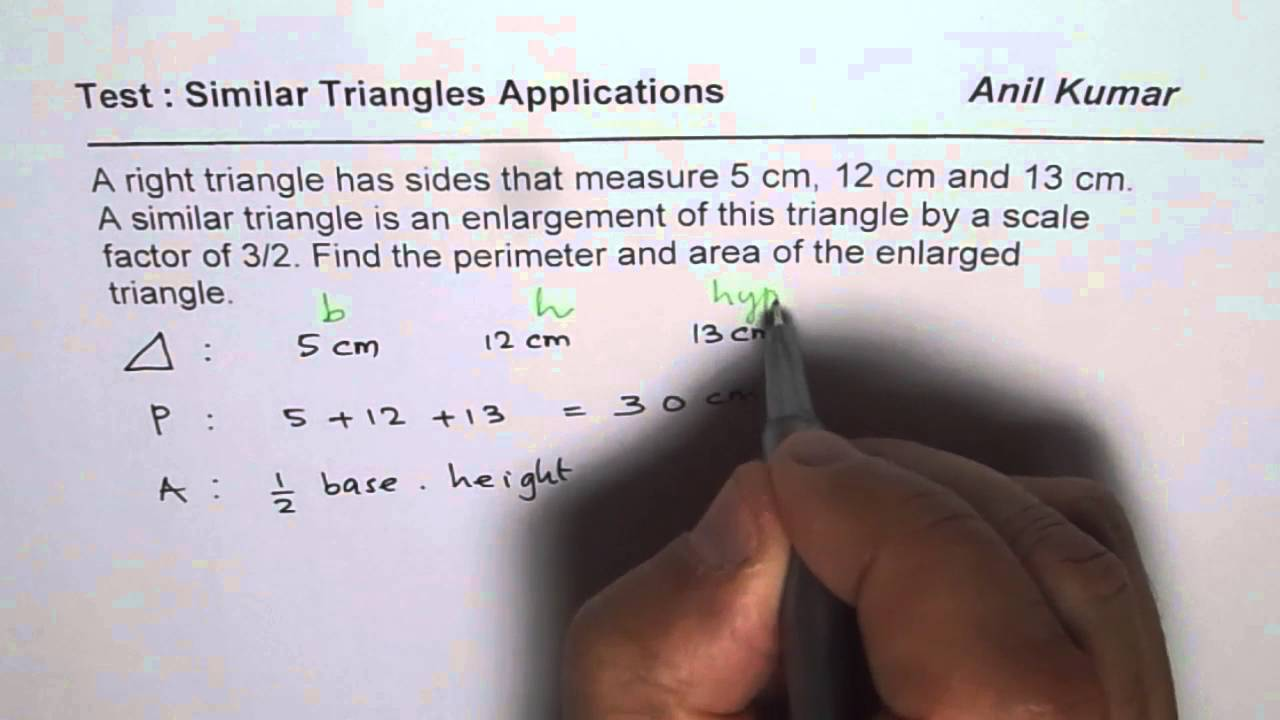 Find area and perimeter of right triangle with scale factor of one find area and perimeter of right triangle with scale factor of one and half ccuart Images