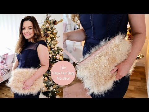How to make a Faux Fur clutch bag, No sewing. - YouTube
