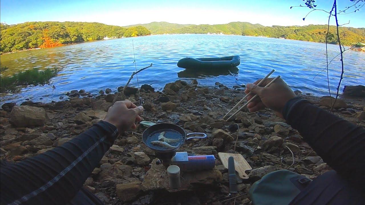 釣りをしながら洞窟でご飯を食べたよ!