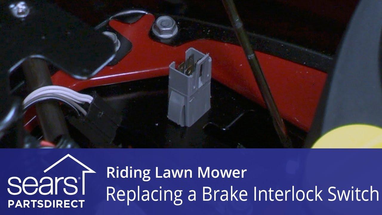 replacing a brake interlock switch on a riding lawn mower [ 1280 x 720 Pixel ]