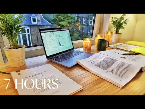 7 HOUR STUDY WITH ME | Background noise, 10-min Break, No music, Study with Merve