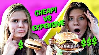 Cheap vs Expensive Drive-Thru Challenge   Surviving 24 Hours on a Food Budget    Taylor & Vanessa
