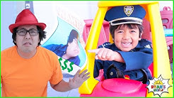 Ryan Pretend Play funny Police story helps find missing items!!!