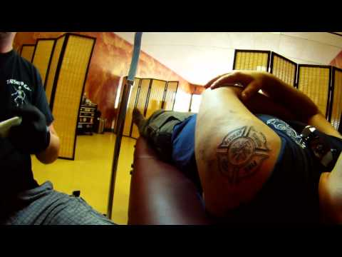 Aaron Beaudette Time Lapse Tattooing Firefighter Maltese Cross