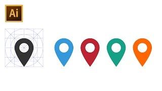 How to Draw Location Pin Icon - Adobe Illustrator