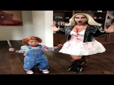Amber Rose and Sebastian Halloween 2017 costumes! Chucky u0026 Tiffany!  sc 1 st  YouTube : chuckie halloween costume  - Germanpascual.Com