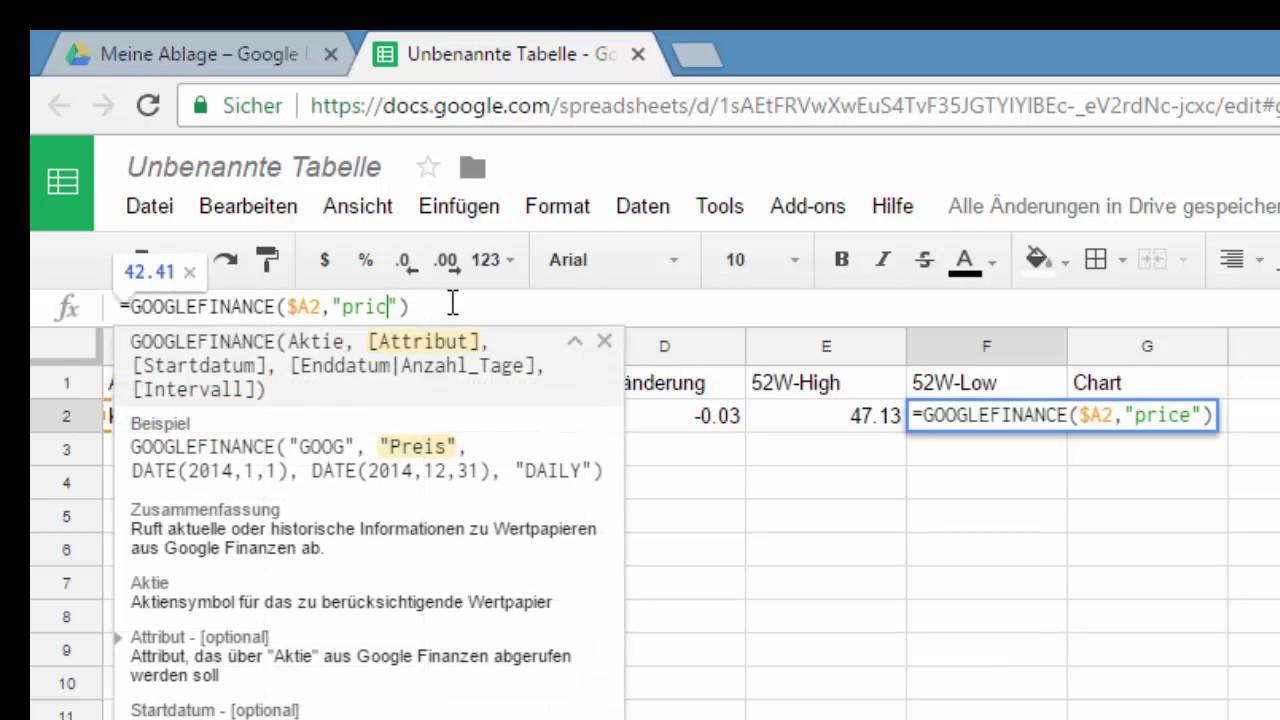 Tutorial - Watchlist über Google Spreadsheets - YouTube