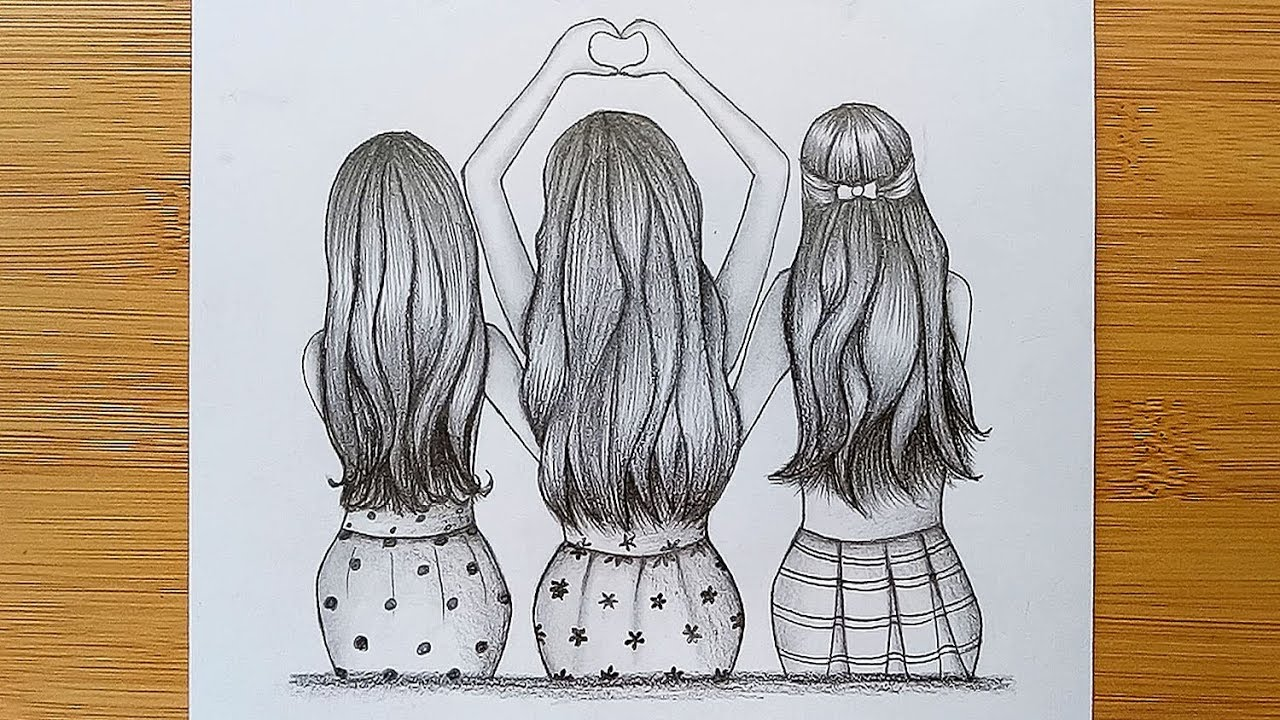 Best friends tutorial with pencil sketch how to draw three friends hugging each other
