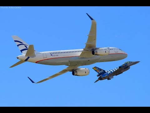 Aegean A320 Sharklets &  F-16 Formation Low Passes - AFW2015 Airshow Display - HAF ZEUS