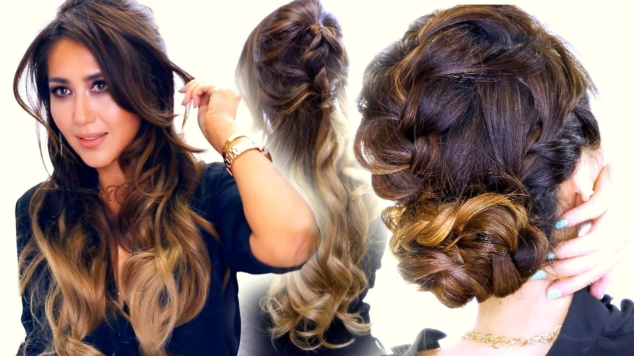 2  Summer BRAID Hairstyles Cute Half Updo &amp Messy Bun - Bridesmaid Hairstyles