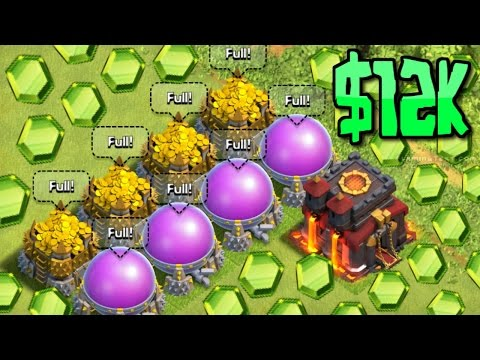 Clash of Clans - $12,000 GEMMED VILLAGE! SUPER GEM MAX BASE! Most Money Spent On A Base?