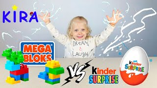 Kira learn colors and animals / Mega bloks Fisher - Price / Kinder surprise egg VS MEGA BLOKS