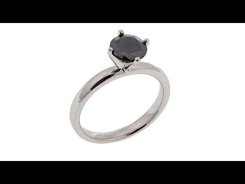1ct RoundCut Black Diamond Solitaire Sterling Silver Ring