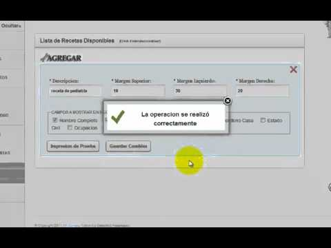 Configuracion de Formatos de Receta Medica, Software de Historia