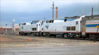 Amtrak P42 Genesis locomotive nos.  153 and 157 at Topeka, Kansas with the Southwest Chief