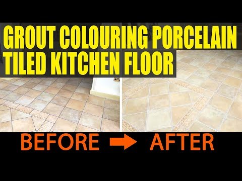 grout colouring porcelain tiled kitchen floor in maidenhead - youtube