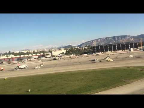 Taking-off from Geneva Airport on a Helvetic Airways Embraer 190