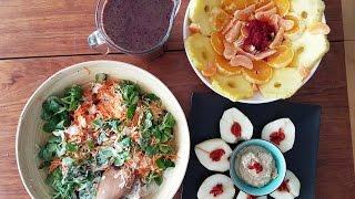 Journée de trois repas crus : fruits et légumes du panier à la table !