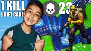 1 KILL = 1 GIFT CARD FORTNITE CHALLENGE WITH MY 5 YEAR OLD LITTLE BROTHER | KID WINS FREE GIFT CARDS