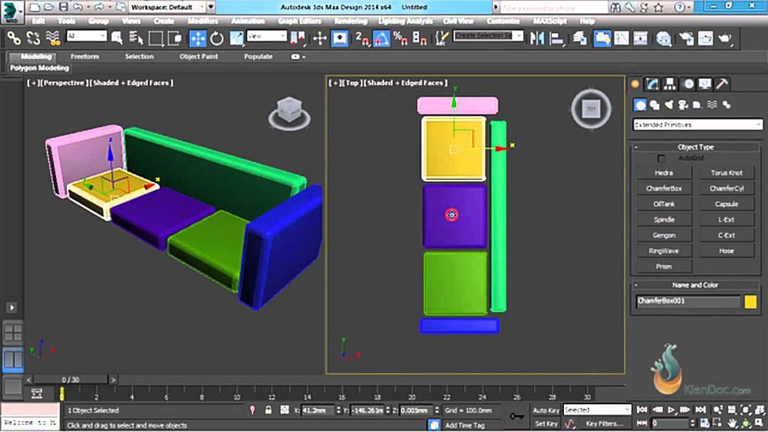 Thực hành 3ds Max – Bài 5: Align đối tượng và ứng dụng vẽ ghế sofa trong 3Ds Max