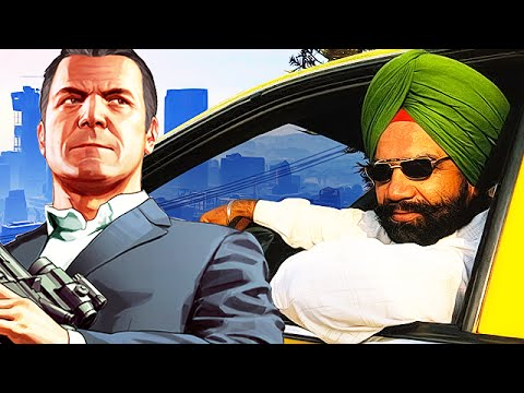 Taxi Driver gets TROLLED on Grand Theft Auto 5! - (Indian Voice Trolling GTA 5)
