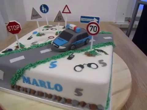 Polizei Geburtstags Torte Fondant Police Cake Youtube