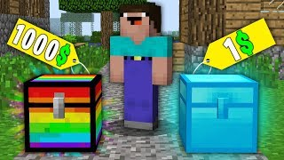 Minecraft NOOB vs PRO:NOOB BOUGHT RAINBOW CHEST FOR 1000$ VS DIAMOND CHEST FOR 1$! 100% trolling