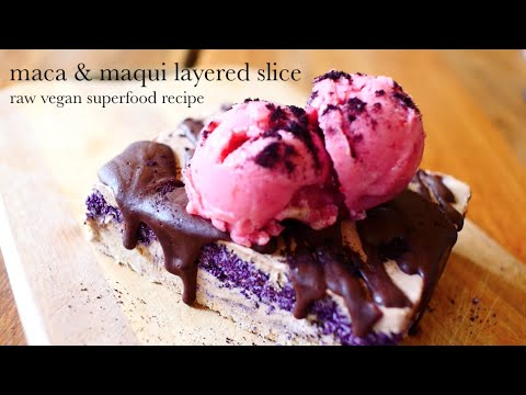 maca and maqui berry superfood  layered slice - raw vegan recipe