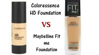 Maybelline Fit Me Poreless vs Coloressence HD Foundation Comparison amp Review in Hindi
