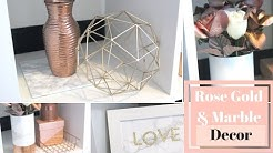 DIY Rose Gold and Marble Room Decor | SIMPLE & EASY Home Office Decor