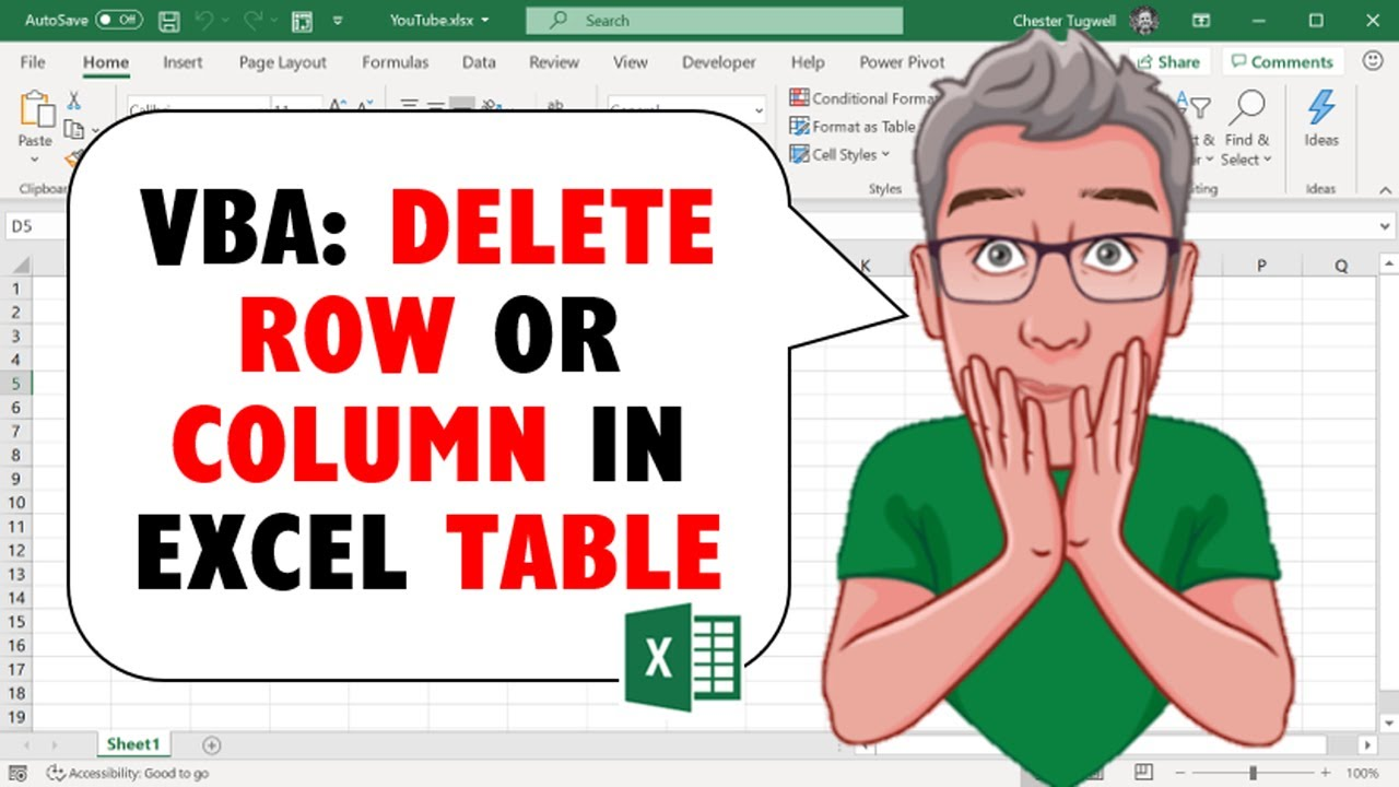 Excel VBA to Delete Row or Column in Excel Table