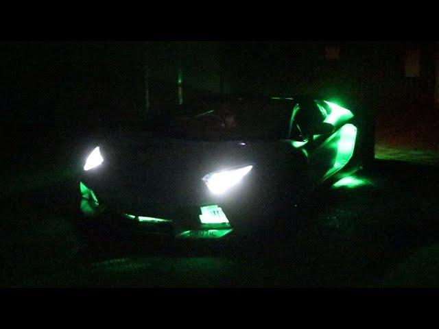 We made a Lamborghini Aventador flash GREEN! @The Cannon Run