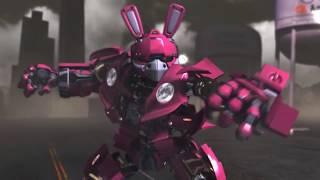 Transformer. Fan 3D animation Bunny enjoying dinner.
