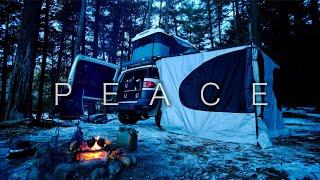 Peaceful ASMR Solo Wiฑter Camping in my FJ Cruiser 4K